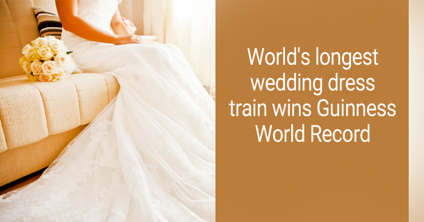 A Guinness World Record Has Been Set In France For The Worlds Longest Wedding Dress Train Measuring Over 8095 Metres Long