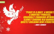 """Peace is a daily, a weekly, a monthly process, gradually changing opinions, slowly eroding old barriers, quietly building new structures."""