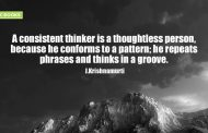 """A consistent thinker is a thoughtless person, because he conforms to a pattern; he repeats  phrases and thinks in a groove."""