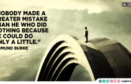 """Nobody made a greater mistake than he who did nothing because he could do only a little."""