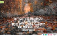 """Difficult and meaningful will always bring more satisfaction than easy  and meaningless."""