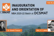 Inauguration and Orientation of MBA 2020-22 batch at DCSMAT